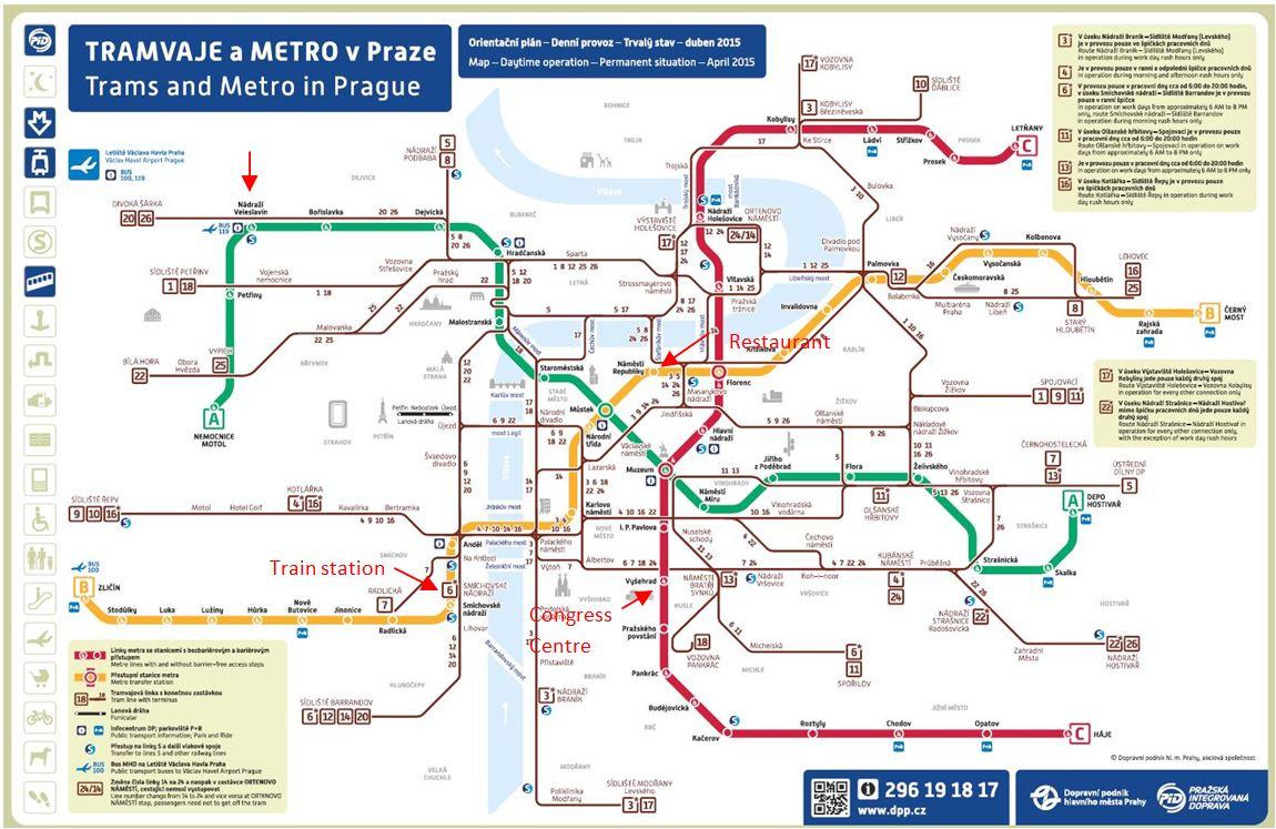 Mappa trasporti a Praga