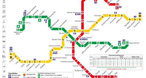 Nuove stazioni della metro di Praga e percorsi per l'aeroporto.